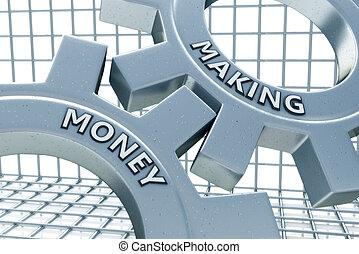 dinheiro, fazer, ligado, a, mecanismo, de, metal, engrenagens