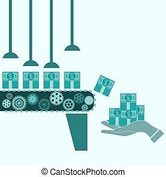 dinheiro, fazer, máquina, idéia negócio