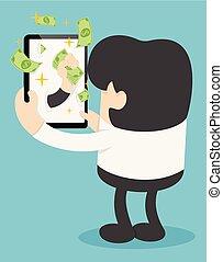 dinheiro, fazer, online
