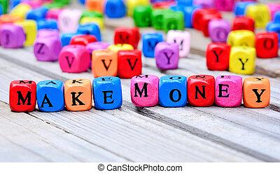 dinheiro, fazer, palavras, tabela