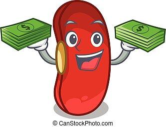 dinheiro, feijão, caricatura, xícara vermelha