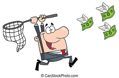 dinheiro, feliz, perseguindo, homem negócios