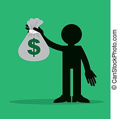 dinheiro, figura, prendendo saco