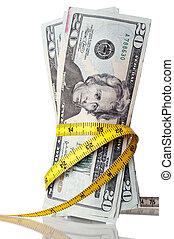 dinheiro, fita, americano, medida, ao redor