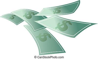 dinheiro, flutuante, dólares, voando