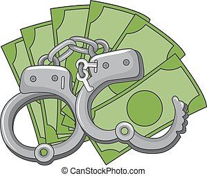 dinheiro, fraude, cuffs, mão