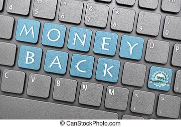 dinheiro, garantia, costas, teclado