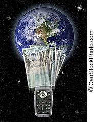 dinheiro, global, transferência