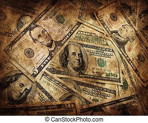 dinheiro, grunge, fundo
