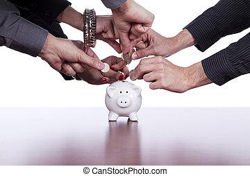 dinheiro, grupo, poupar, pessoas