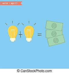 dinheiro., idéias, mudança, vector.