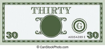 dinheiro, imagem, conta, trinta, logotipo