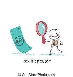dinheiro, imposto, olhar vidro, inspetor, magnificar