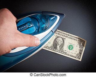 dinheiro, ironing