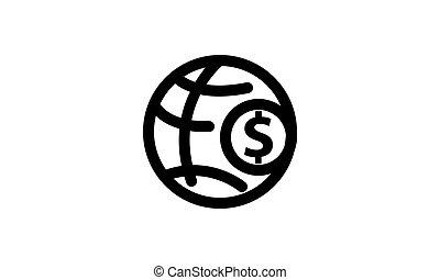 dinheiro, isolado, modelo, ícone
