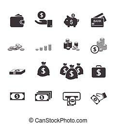 dinheiro, jogo, ícone