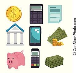 dinheiro, jogo, ícones