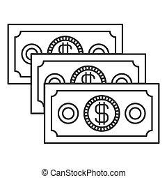 dinheiro, jogo, silueta, contas, monocromático