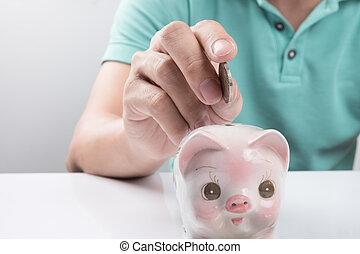 Dinheiro, jovem, depositar,  piggy, homem negócios, banco