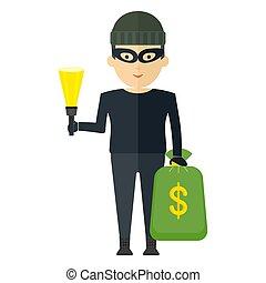 dinheiro, ladrão, saco