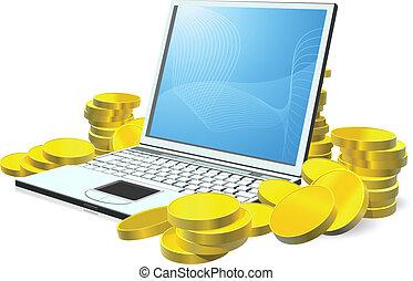 dinheiro, laptop, conceito