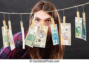 dinheiro, lavanderia, ricos, homem