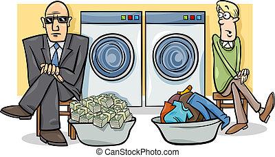 dinheiro lavando, caricatura, ilustração