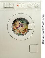 dinheiro lavando, em, lavadora roupa