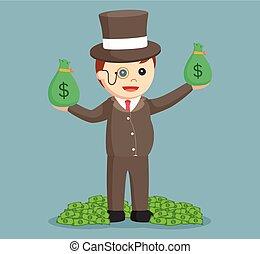 dinheiro, lote, gorda, ricos, homem