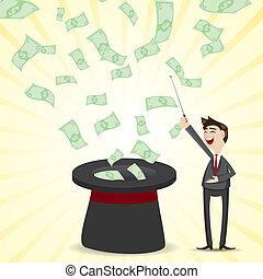 dinheiro, mágico, chapéu, caricatura, homem negócios