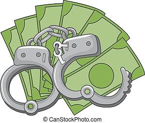 dinheiro, mão, cuffs, fraude