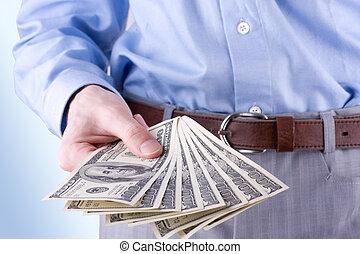 dinheiro, mão, de, a, homem negócios