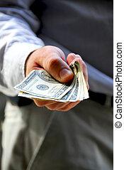 dinheiro, mão, oferta