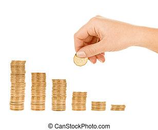 dinheiro, mão, ponha, moeda, id