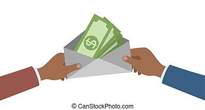 dinheiro., mãos