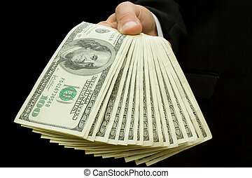 dinheiro, mãos