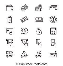 dinheiro, magra, ícones