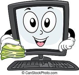 dinheiro, mascote, computador, online