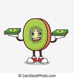 dinheiro, mascote, fruta, mãos, kiwi, personagem