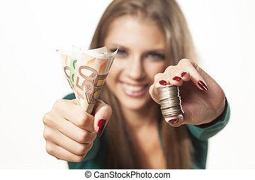 dinheiro, menina, mostrando