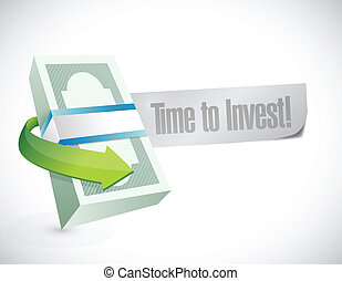 dinheiro, mensagem, investir, ilustração, tempo