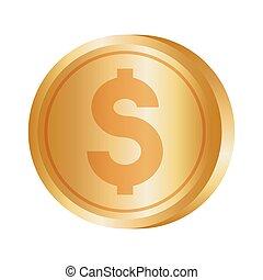 dinheiro, moeda, dólar, ouro