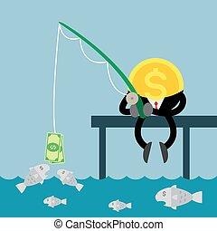 dinheiro, moeda, dólar, pesca, conta