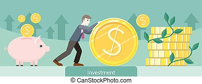dinheiro, moeda, desenho, investimento, ouro