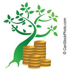 dinheiro, moedas, árvore, ilustração