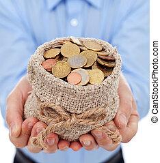 dinheiro, moedas, saco, segurar passa, homem, euro