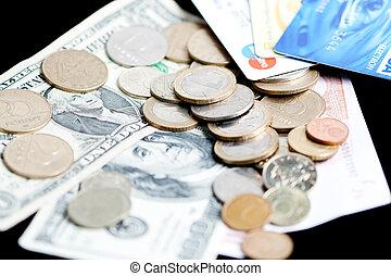 dinheiro, -, motas de banco, moedas, e, cartões crédito