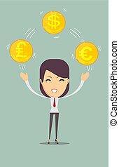 dinheiro, mulher, jovem, negócio, segurando
