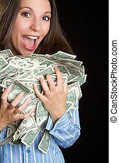 dinheiro, mulher segura