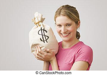 dinheiro, mulher segura, saco